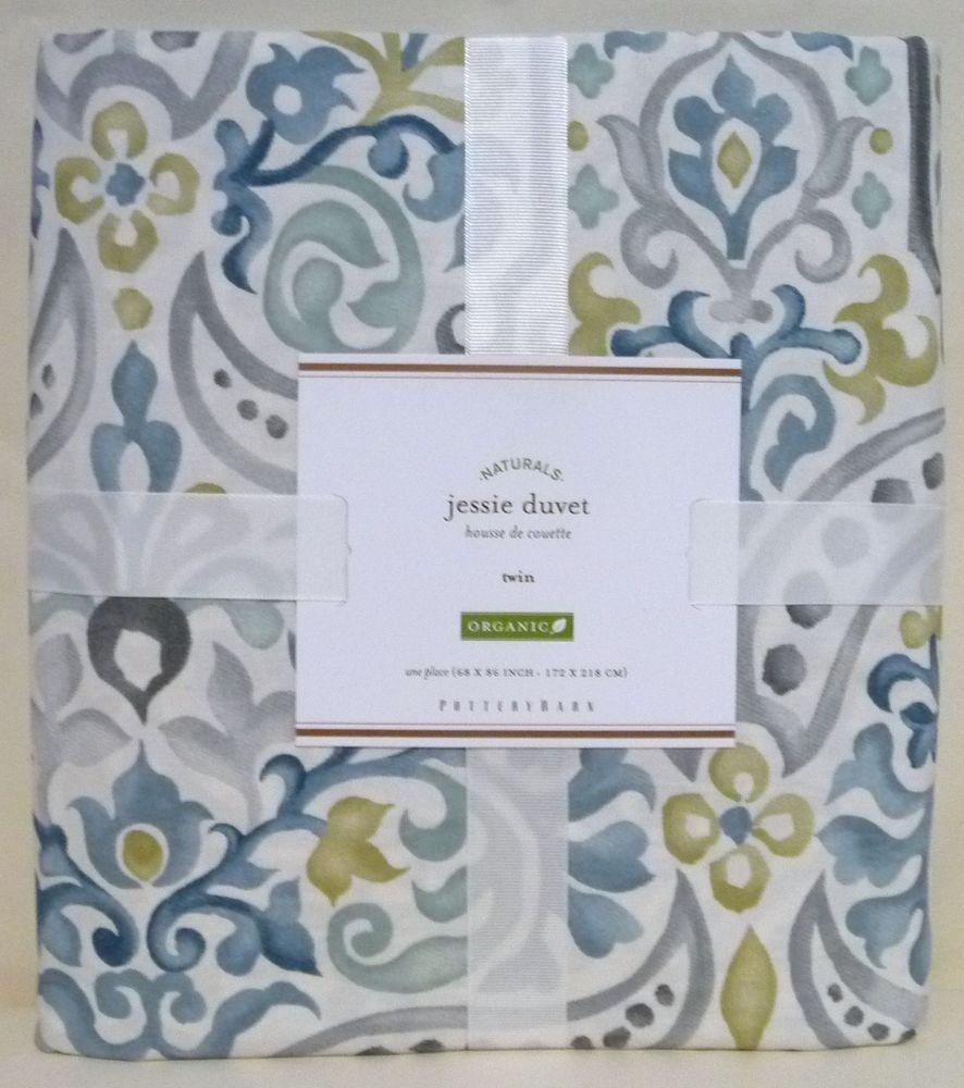 POTTERY BARN Jessie Organic TWIN Duvet Cover, NEW