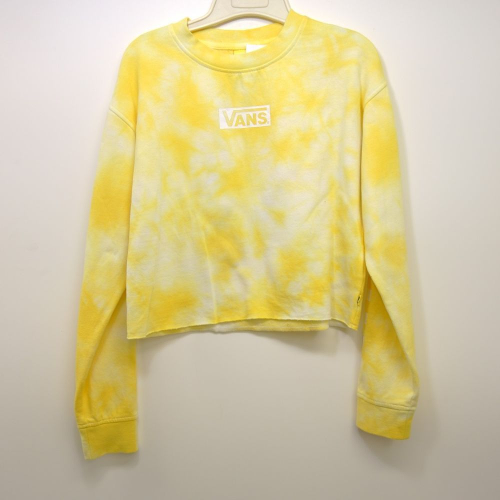 New Vans Womens Yellow White Tie Dye Cropped Pullover Crewneck Sweatshirt  Small  VANS  SweatshirtCrew 3b5b27ed2c232