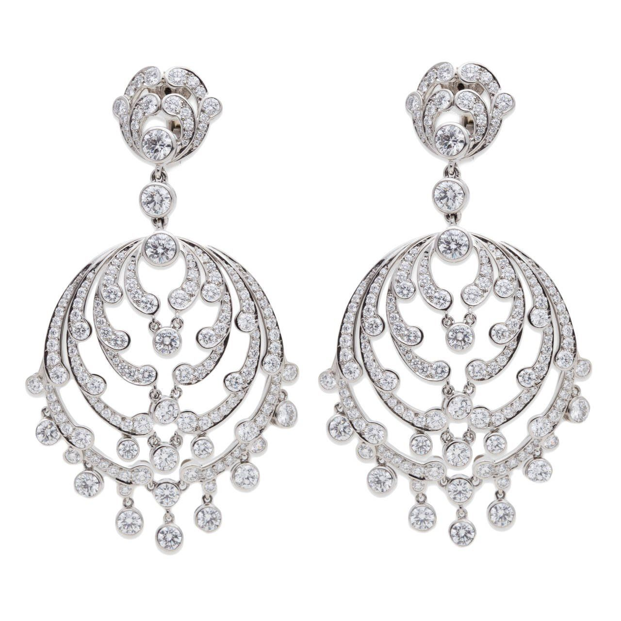 Cartier diamond platinum chandelier earrings chandelier earrings cartier diamond platinum chandelier earrings arubaitofo Choice Image