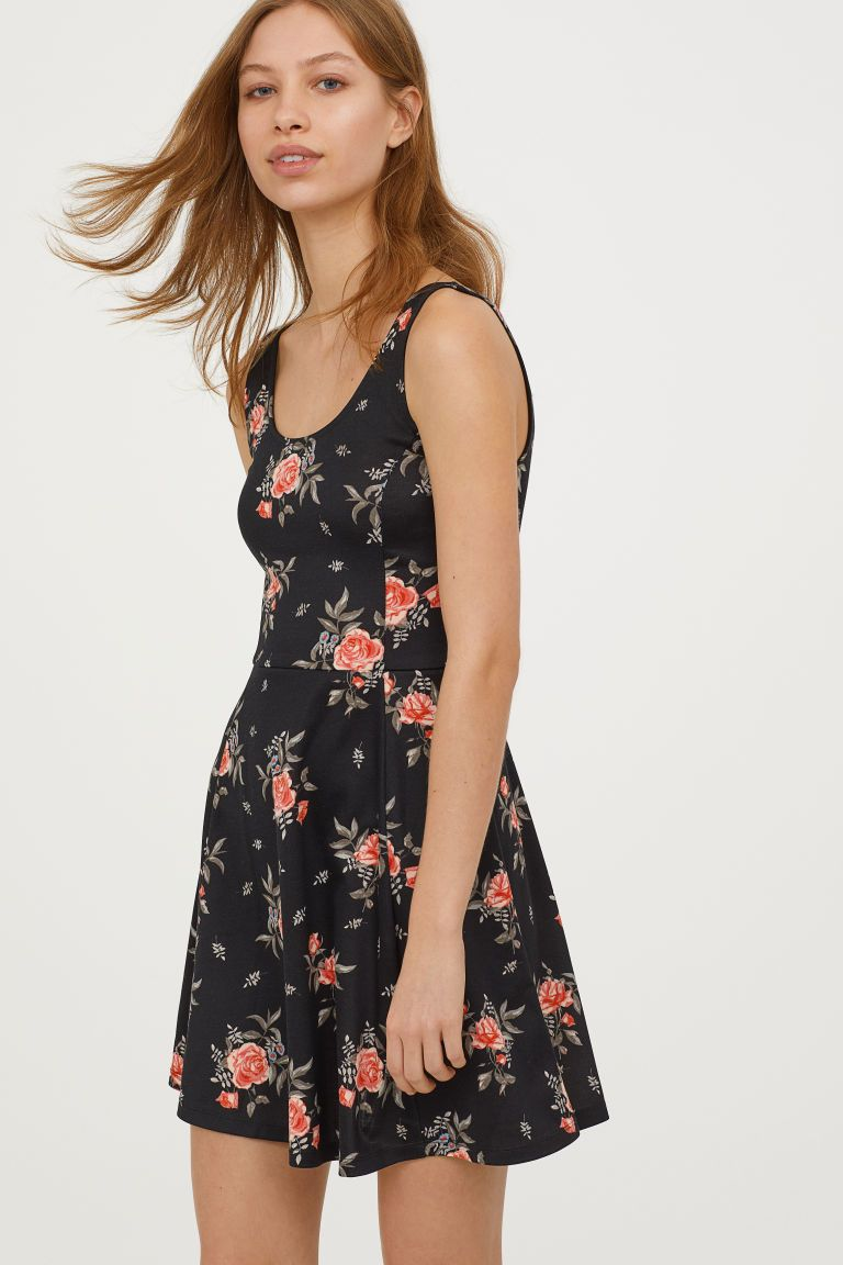 4acce50096c7f Sleeveless Jersey Dress - Black floral - Ladies