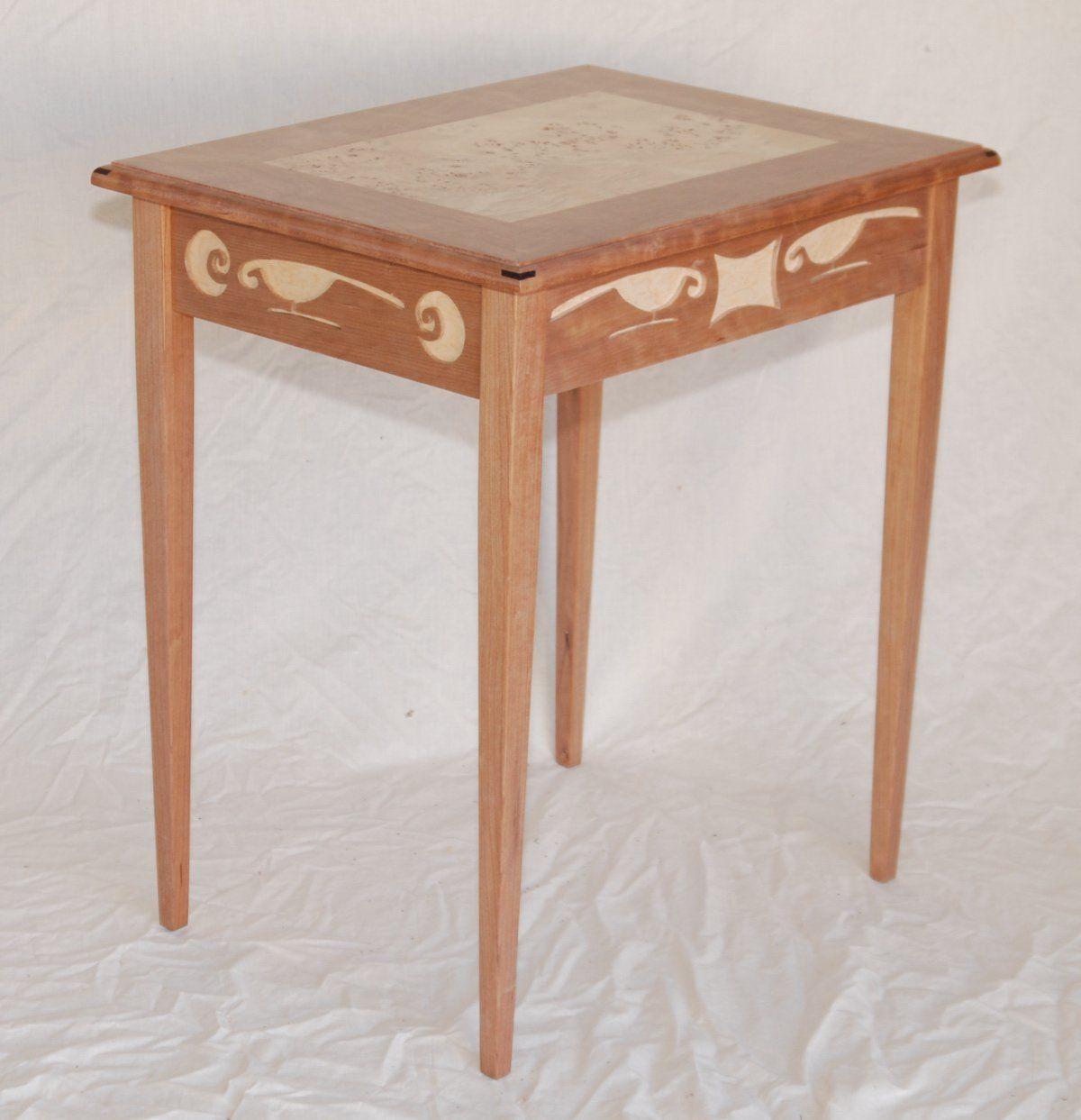 Nice Rain Bird End Table With Mappa Veneer