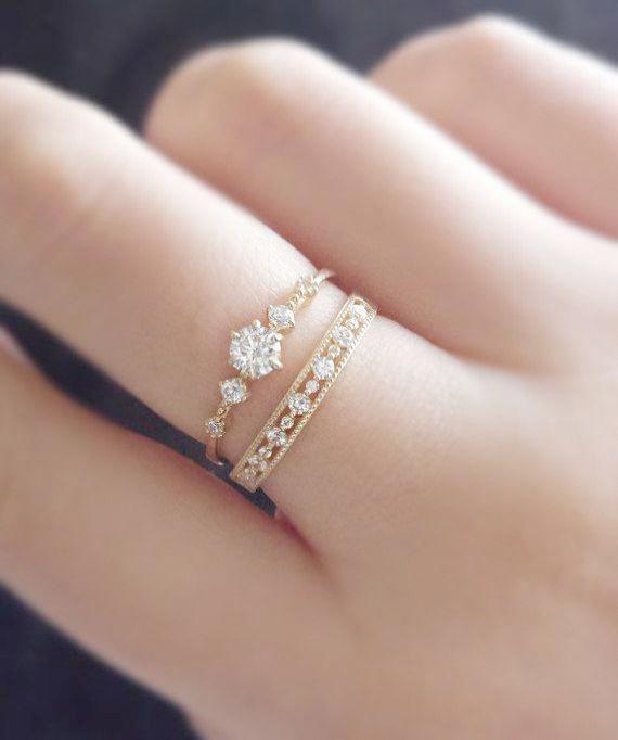 Juego de anillos de compromiso de aguamarina azul de corte ovalado de 8×6 mm, anillo de bodas de diamantes Milgrain, eternidad completa, juego de anillos de novia de 2 piezas, oro rosa de 14 k, halo – Ideas de joyería fina