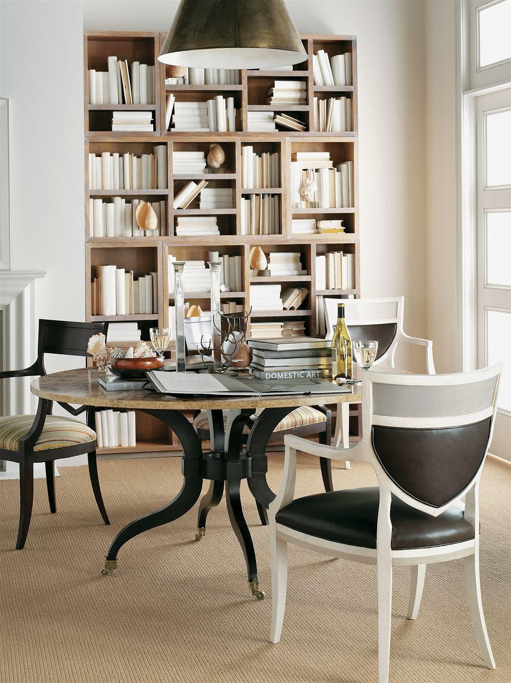 Different Bookshelves bookshelf with different size cubbies | hickory chair #hpmkt