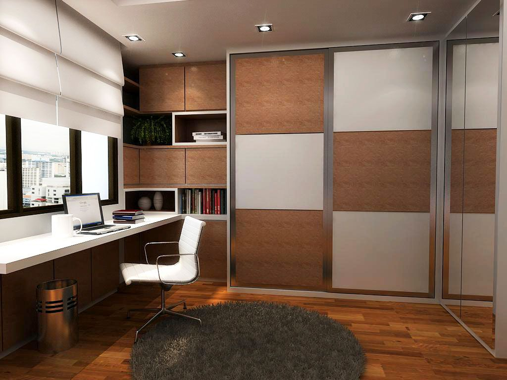 Simple But Modern Study Room With Brown And White Tile Sliding