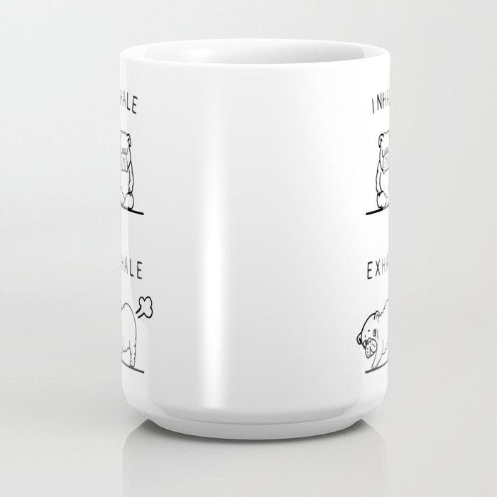Inhale Exhale English Bulldog Coffee Mug by Huebucket - 15 oz #inhaleexhale