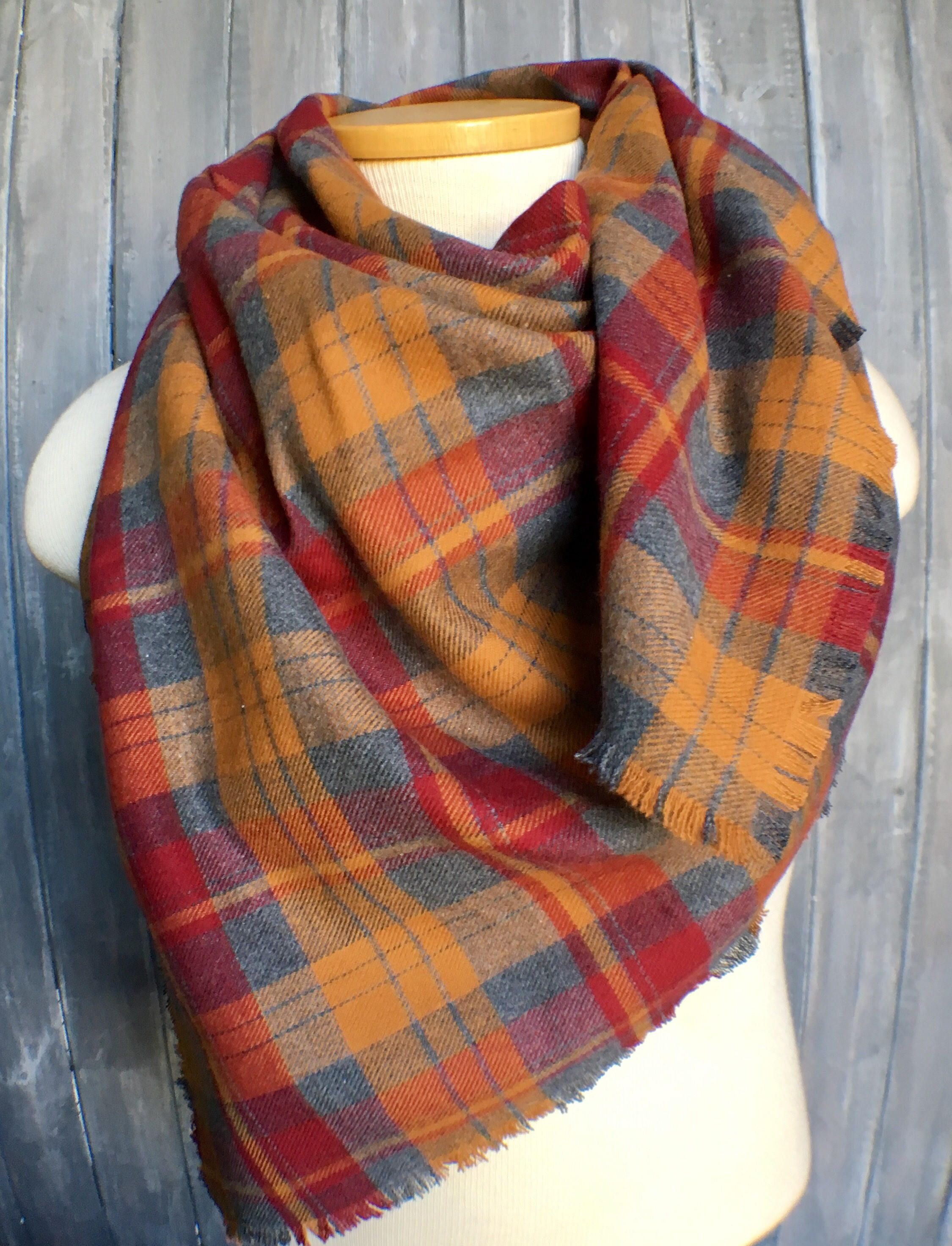 Gray Gold Red Plaid Flannel Blanket Scarf 29 99 Pileofstyle