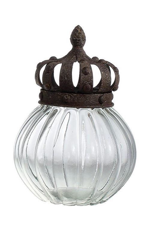 French Style Chateau Home Decor Large Glass Jar With Metal Crown Lid