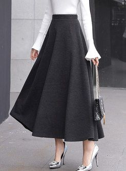 Stylish High Waist Big Hem Hairy Maxi Skirt