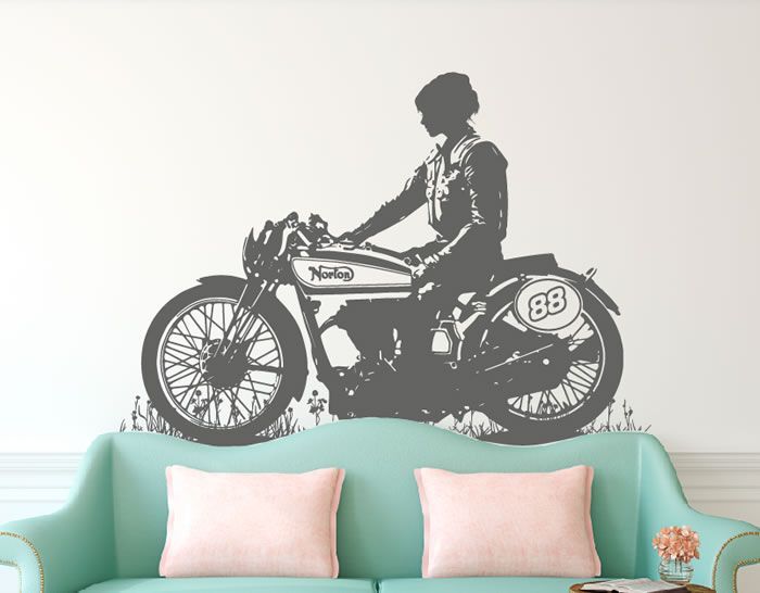 Vinilo decorativo moto norton vintage ideas para el - Decoracion paredes vintage ...