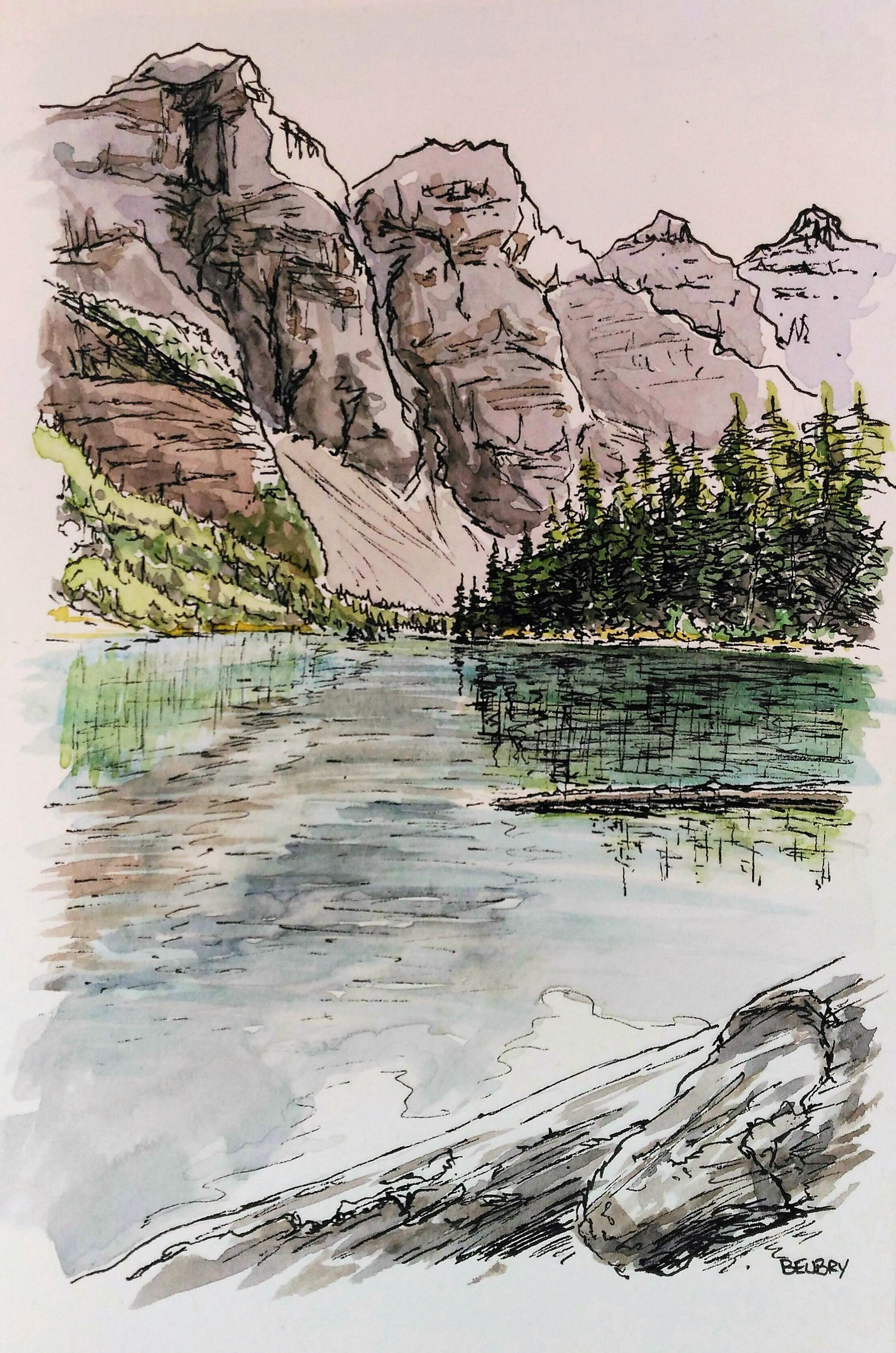 Lake Moraine Banff Alberta Canada Watercolor Painting Gurvan