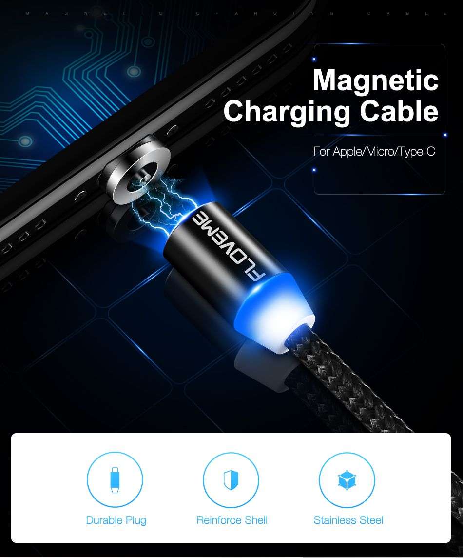 Floveme Led Magnetic Cable For Apple Iphone X 7 6 Micro Usb Type-c Cable For Samsung Xiaomi Magnet Charger 1m Nylon Cabo Usb C Cellphones & Telecommunications