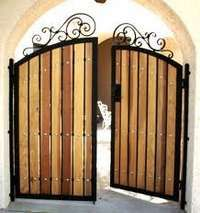 Combination Of Wood And Rod Iron Frame For Doors Wood Gate
