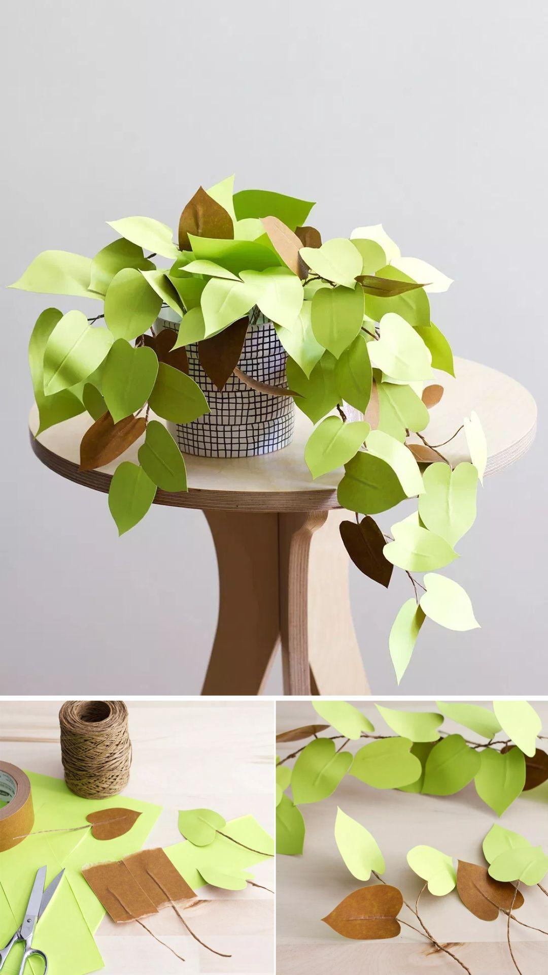 Plante En Papier Diy Et Inspirations Blog Deco Clemaroundthecorner Plantes En Papier Papier Diy Artisanat Bricolage Papier