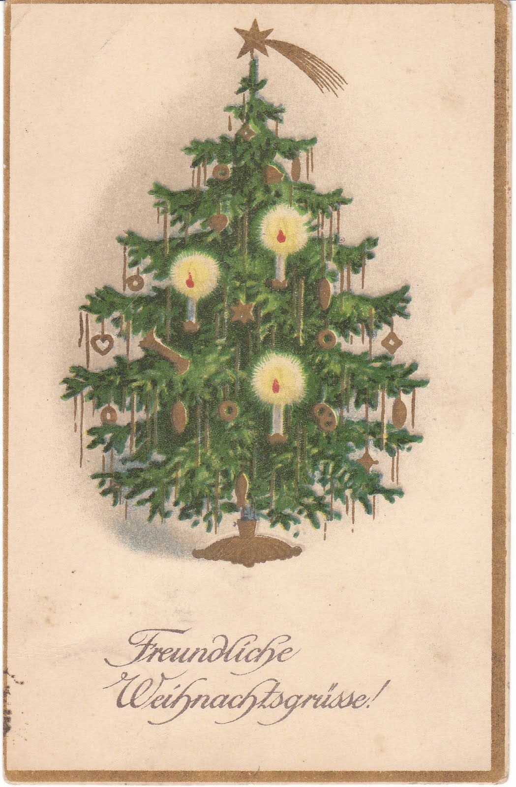German Christmas Tree In Forest Vintage Cards Bing Images