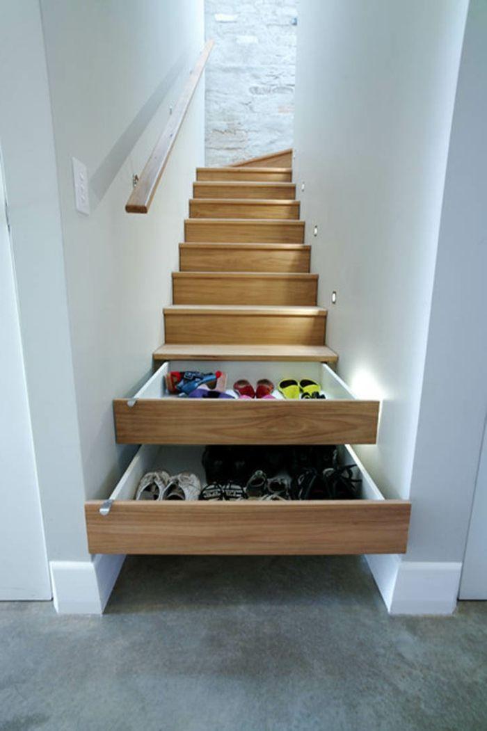treppenhaus mit schubladen gestalten kreative wohnideen - unter der treppe wohnideen