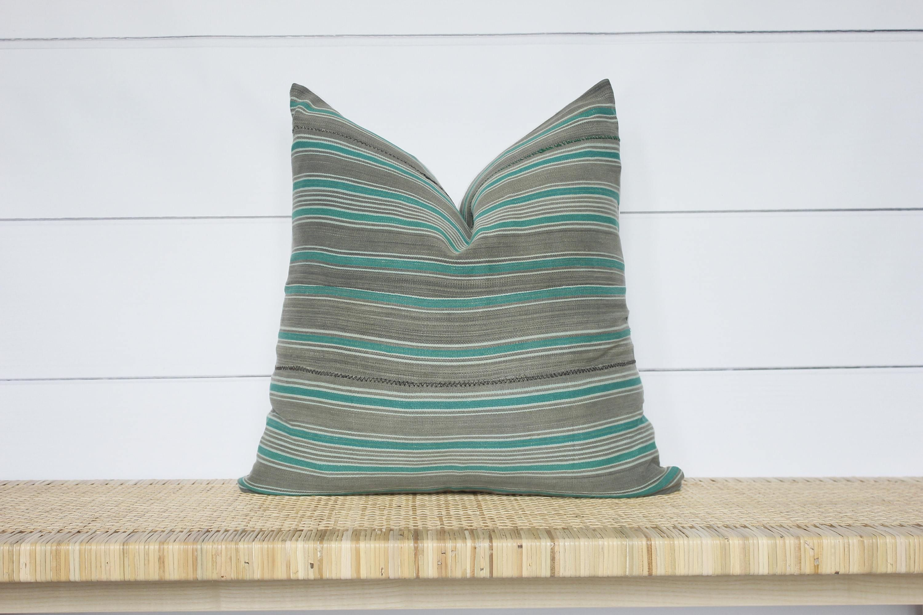 African mudcloth pillow cover grey green stripe vintage