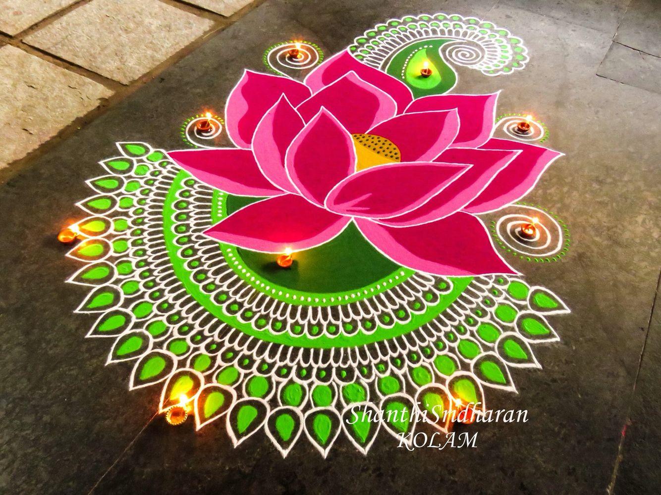 Image Result For Colored Lotus Flower Kolam Rangoli Pinterest