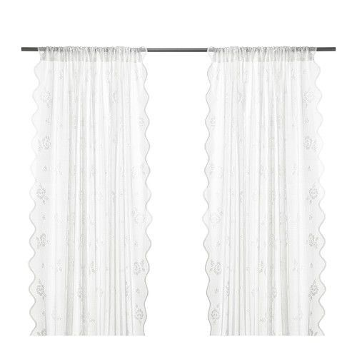Ikea Myrten Pair Of Lace Curtains White 2 Panels Brand New