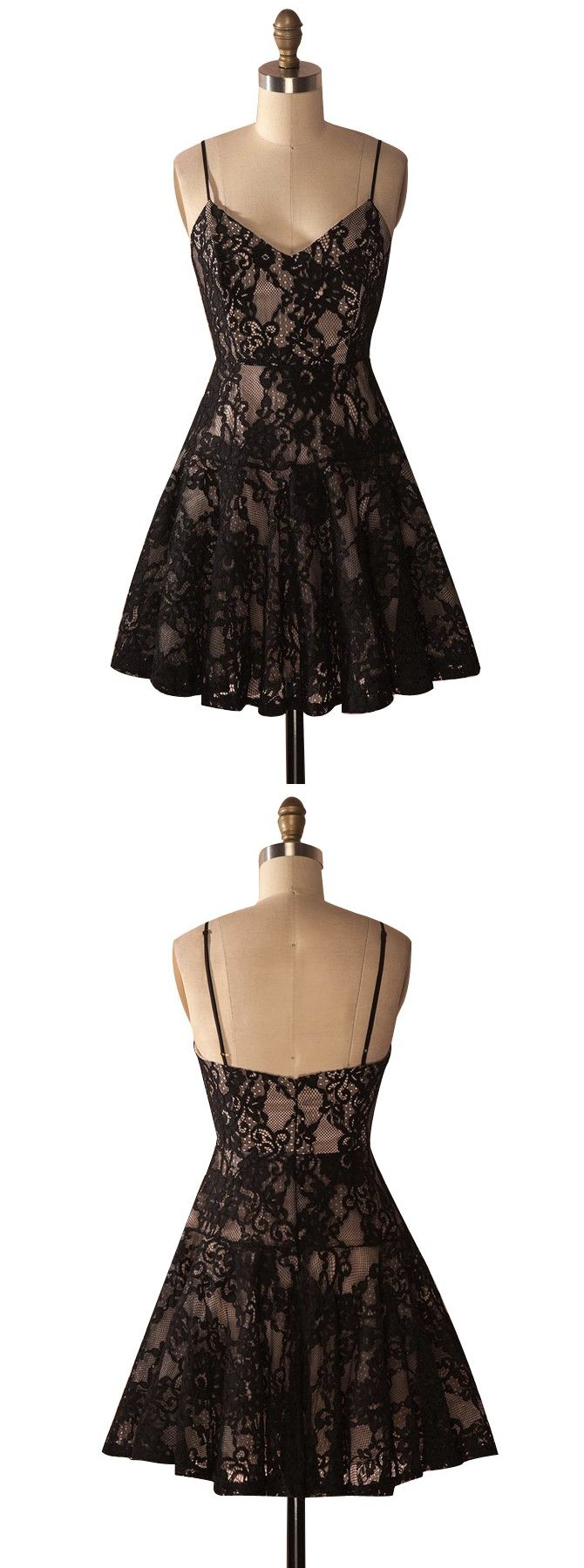 Aline spaghetti straps black short lace homecoming dress short