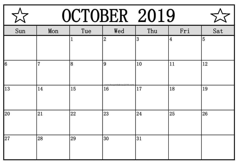 October 2019 Blank Calendar Downloadable Blank Calendar