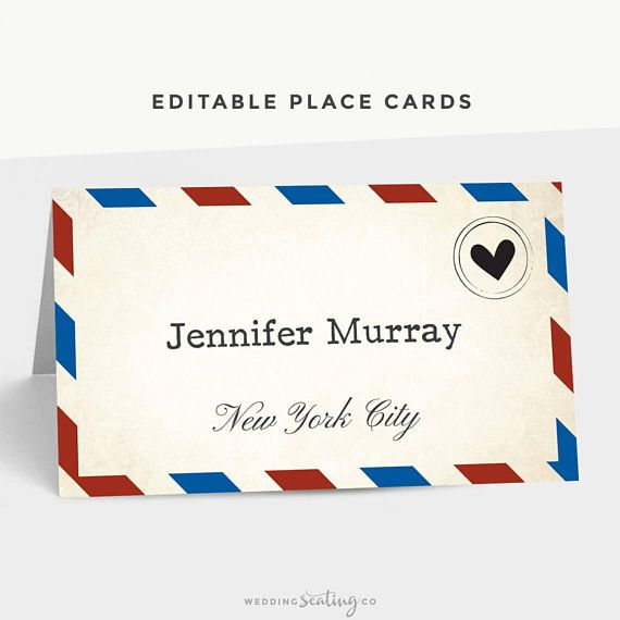 Printable Place Card Template Instant Download Editable Text And Colors Mac Or Wedding Place Card Templates Place Card Template Card Templates Printable