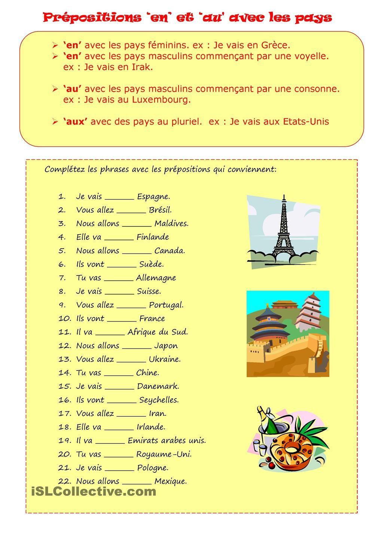 PREPOSITIONS   Apprendre le français, Préposition et ...