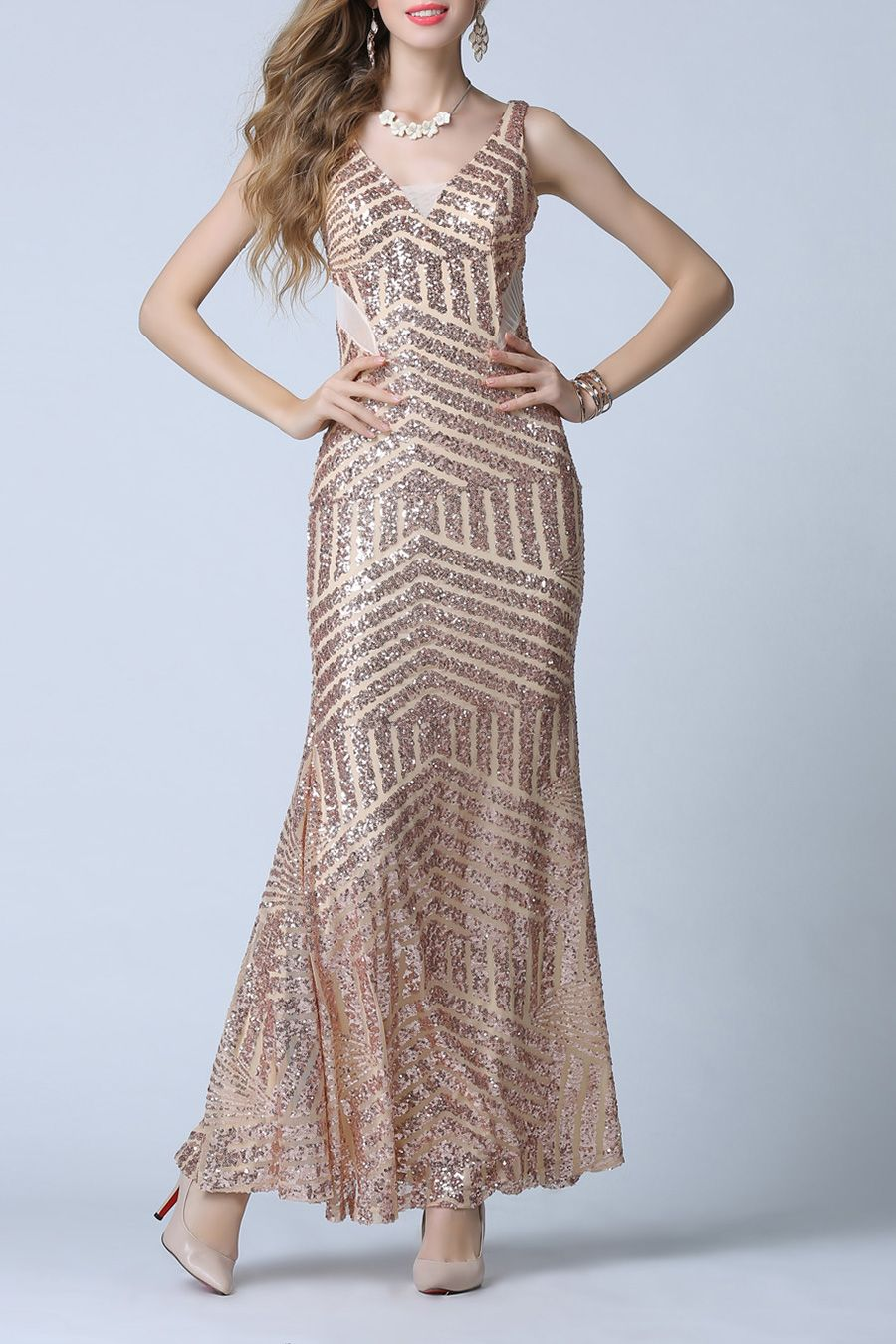 c91da2bee4 Backless Sequined Bodycon Dress