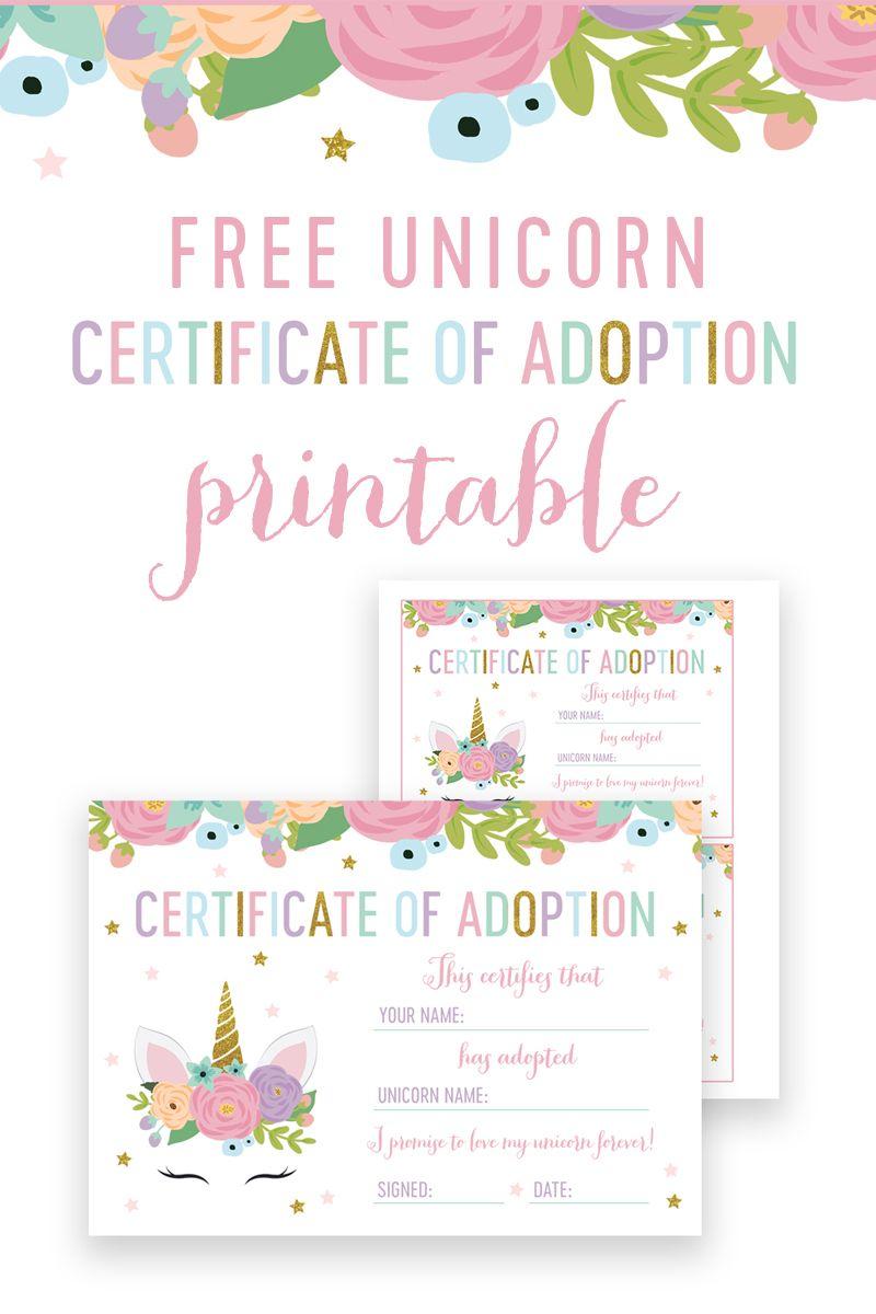 Free Unicorn Birthday Certificate Of Adoption Instant Download Printable Printable Market Free Printable Birthday Cards Birthday Card Printable Birthday Party Invitations Free