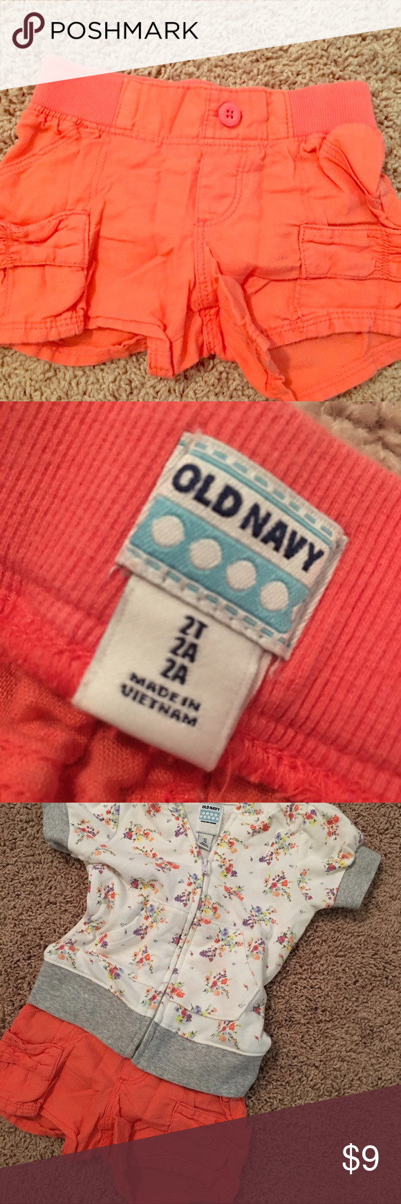 Cute Coral Cargo Shorts Perfect condition. Lightweight coral cargo shorts with elastic waistband. Jacket is also for sale. Purchase together for extra savings. Old Navy Bottoms Shorts