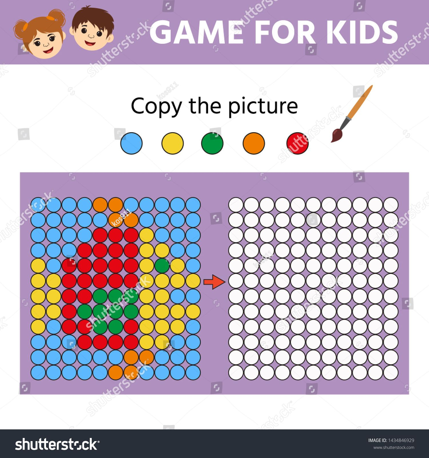 Puzzle Task Education Logic Game For Preschool Kids Paint The Circles Color By Example Drawing Printable Activity Le In 2020 Preschool Games Logic Games Education