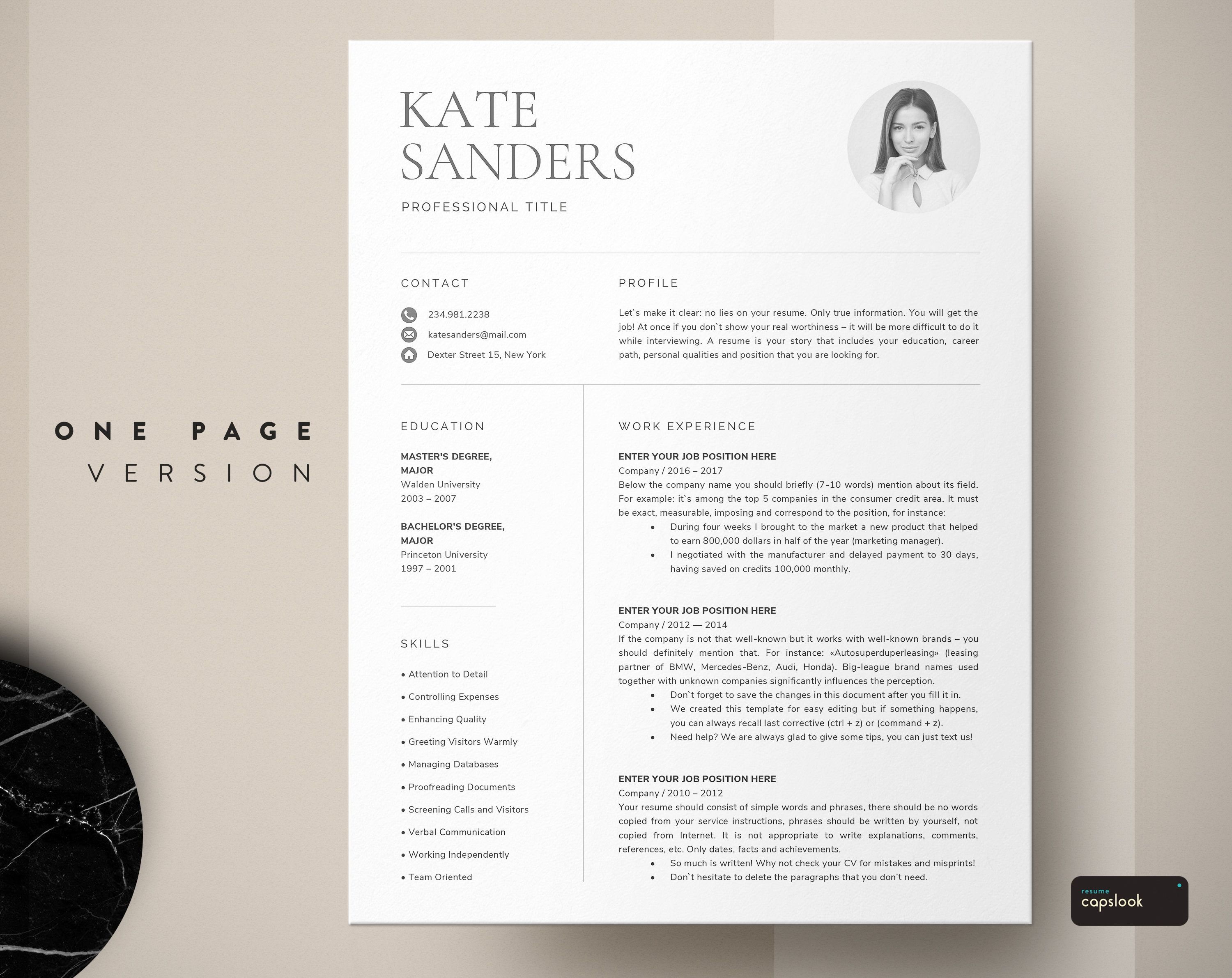 CV Template, Resume Template with Photo, Professional