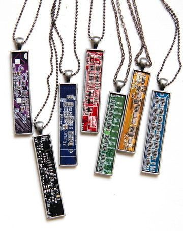 Men's Necklace, Circuit Board Necklace, Gift for Geek, Computer Geek, Motherboard Recycled Jewelry