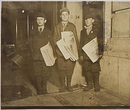"Photograph taken after midnight on April 17, 1912, G St. near 14th. These boys, 10, 11, and 12 years old, were stuck with over fifty papers in their hands, and vowed they would stay until they sold out if it took all night. The oldest said, ""my mother makes me sell."", 04/17/1912"