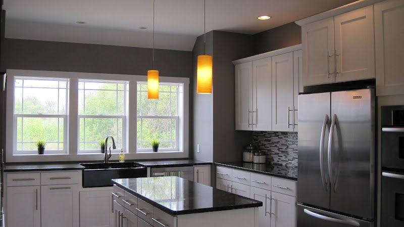 White Kitchen Grey Walls grey kitchen cabinets dark wood floors | the darker brown cabinets
