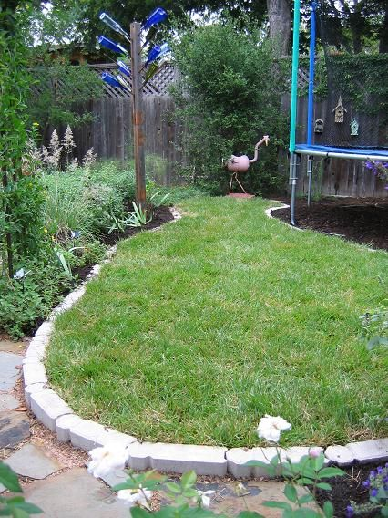 Trampoline Border With Wood Chips Under