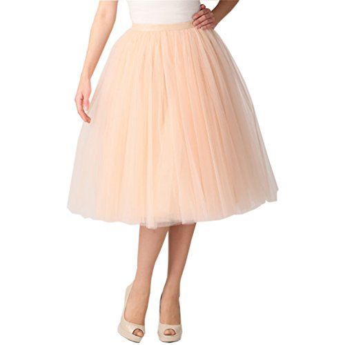 99f6cf8fb0 Lisong Women Tea Length Layered Tulle A-line Party Prom Skirt 8 US ...