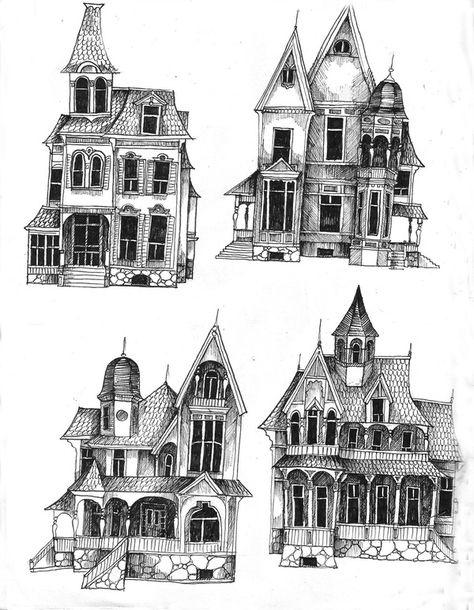 Spooky House Drawing : spooky, house, drawing, Trendy, Ideas, Tattoo, Sleeve, Sketch, Behance, Haunted, House, Tattoo,, Drawing,, Creepy, Houses