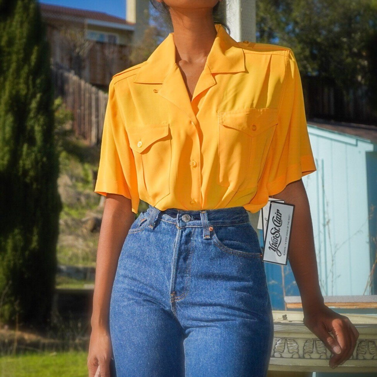 db2a6453c Vtg 80s golden yellow silky polyester safari shirt by Yves St. Clair. ♢  Button down front with 2 breast pockets and short sleeves.