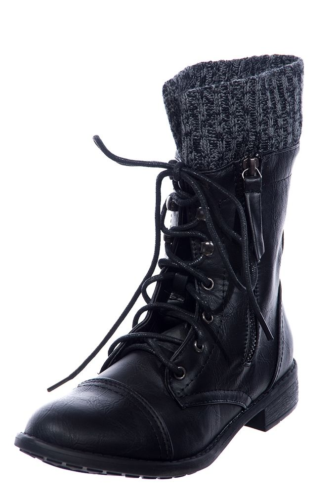 Cozy Combat Sweater Cuff Lace Up Combat Boots Black From Forever