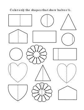 Kindergarten Math Fractions Halves Color Half Shapes Tools