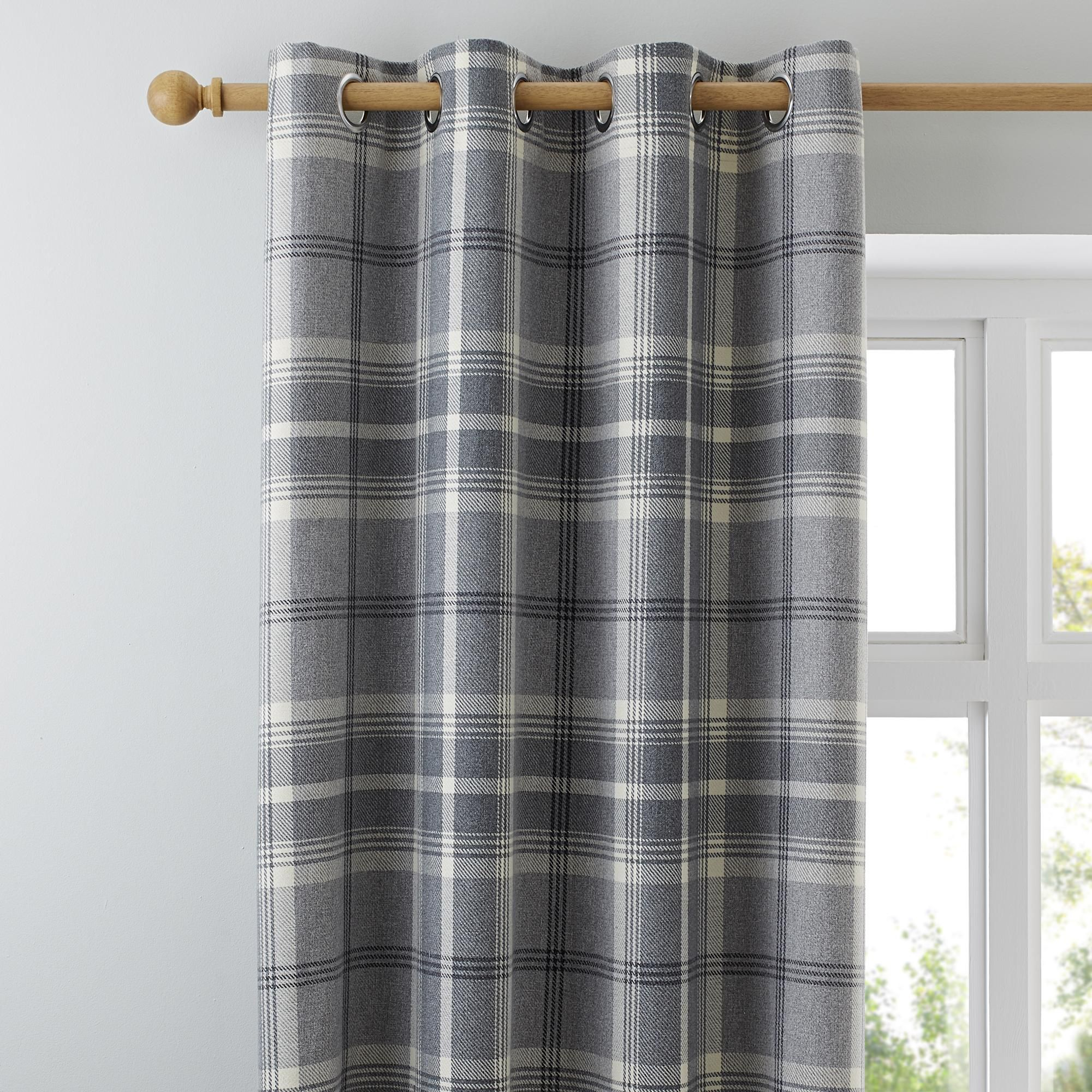 Highland Check Dove Grey Eyelet Curtains In 2020 Grey Eyelet Curtains Curtains Check Curtains