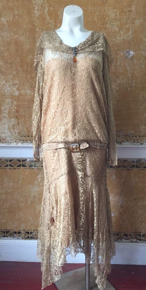 1920s Flapper Gold Lame Silk Lace Dress Dropwaist Citrine Drape Bias Gatsby Vtg #Handmade