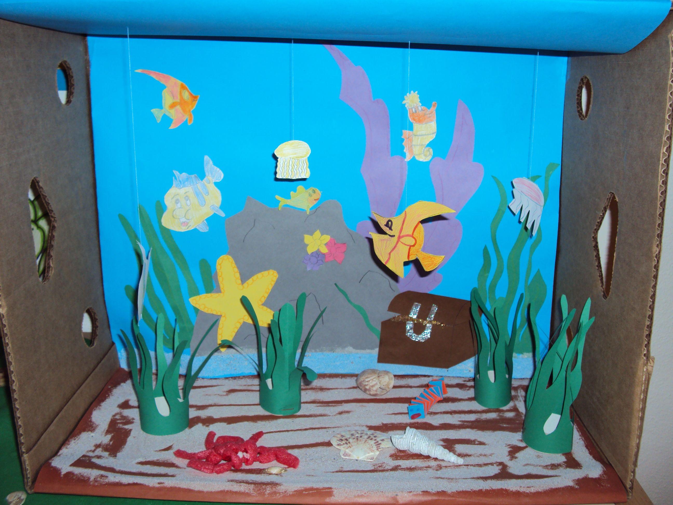 Diep in de zee!! Leuke kijkdoos   Thema  Onderwater wereld   Pinterest   Water, School and Craft