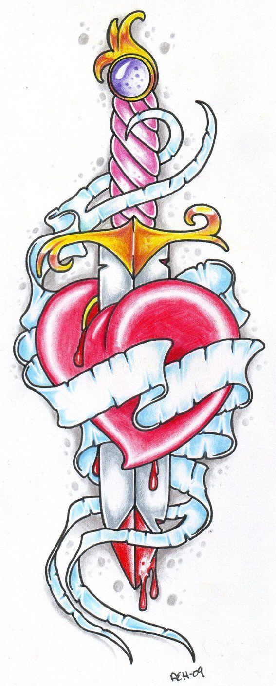 Tatuaje Corazon Con Espada Imagenes De Corazones De Colores