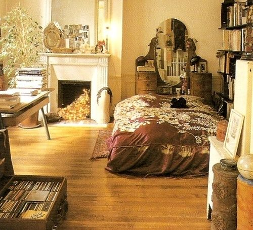 interesting arrangement-- bed in the middle of the room