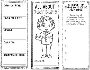 This two-sided tri-fold Judy Blume brochure template allows students to dig deeper into facts about the author. An interactive notebook pocket has been provided, however, these brochures can be created as a stand alone project as well.