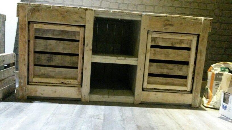 meuble tv en bois de palette Vente de mes créations en palette et - Peindre Des Portes En Bois