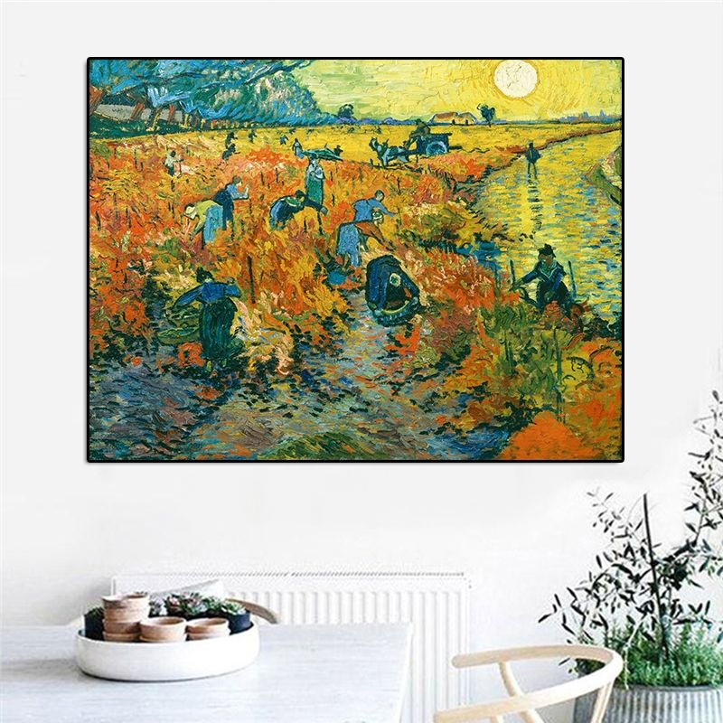 Red Vineyards Wall Art Pictures Canvas Painting Wall Art Prints