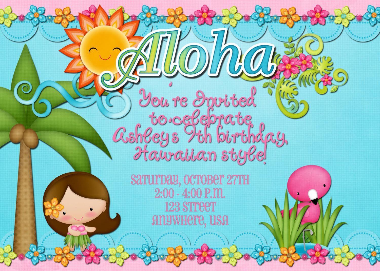 Hawaiian Birthday Party Invitations Templates | Birthday Party ...