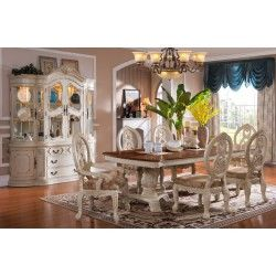 D6009 Mc Ferran Traditional White Dining Set w Dark Table Top
